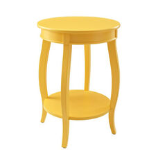 Rainbow Round Table with Shelf - Yellow
