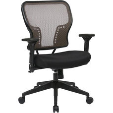 Space Air Grid Back and Padded Mesh Seat Chair with 2-to-1 Synchro Tilt Control and Height Adjustable Padded Arms - Latte
