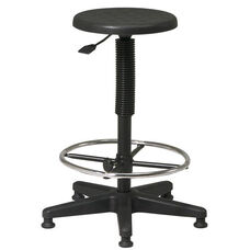 Work Smart Self-Skinned Urethane Seat Stool with Footrest and Adjustable Seat Height - Black