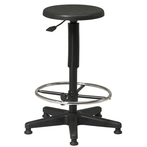 Our Work Smart Self-Skinned Urethane Seat Stool with Footrest and Adjustable Seat Height - Black is on sale now.