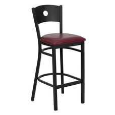 Black Circle Back Metal Restaurant Barstool with Burgundy Vinyl Seat