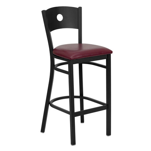 Our Black Circle Back Metal Restaurant Barstool with Burgundy Vinyl Seat is on sale now.