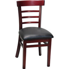 Ladder Back Chair with Extended Edge - Black Vinyl Seat