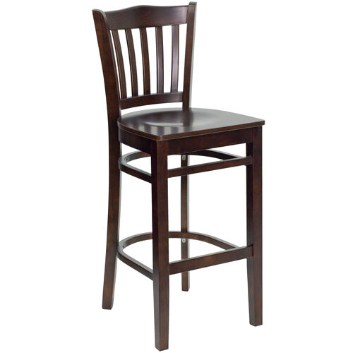 Our Walnut Finished Vertical Slat Back Wooden Restaurant Barstool is on sale now.