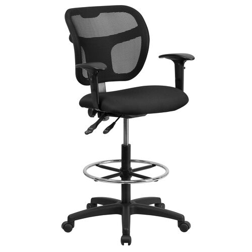Mid-Back Mesh Drafting Chair with Back Height Adjustment and Adjustable Arms