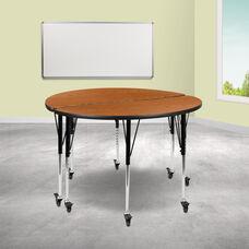 "2 Piece Mobile 47.5"" Circle Wave Collaborative Oak Thermal Laminate Adjustable Activity Table Set"
