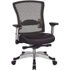 Space R2 SpaceGrid Back Office Chair with Memory Foam Bonded Leather Seat and Flip Arms