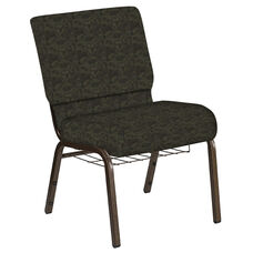 Embroidered 21''W Church Chair in Perplex Mint Chocolate Fabric with Book Rack - Gold Vein Frame