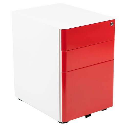 Our Modern 3-Drawer Mobile Locking Filing Cabinet with Anti-Tilt Mechanism and Hanging Drawer for Legal & Letter Files, White with Red Faceplate is on sale now.