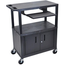 Molded Thermoplastic Resin 3 Shelf Presentation Cart with Locking Cabinet and Pullout Tray - Black - 32
