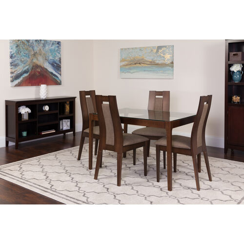 Our Bishop 5 Piece Espresso Wood Dining Table Set with Glass Top and Curved Slat Wood Dining Chairs - Padded Seats is on sale now.