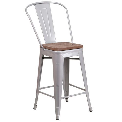 """Our 24"""" High Silver Metal Counter Height Stool with Back and Wood Seat is on sale now."""