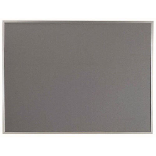 Our Designer Fabric Bulletin Board with Clear Satin Anodized Aluminum Frame - Gray - 36
