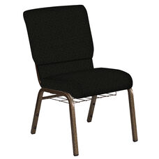 Embroidered 18.5''W Church Chair in Mirage Pewter Fabric with Book Rack - Gold Vein Frame