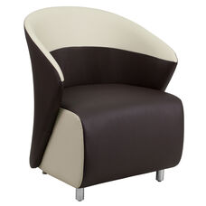 Dark Brown Leather Curved Barrel Back Lounge Chair with Beige Detailing