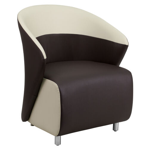 Our Dark Brown Leather Barrel Back Lounge Chair with Beige Detailing is on sale now.