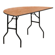 5-Foot Half-Round Wood Folding Banquet Table