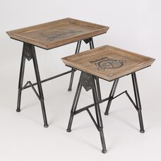 Square Accent Tables with Bicycle Design - Set of 2