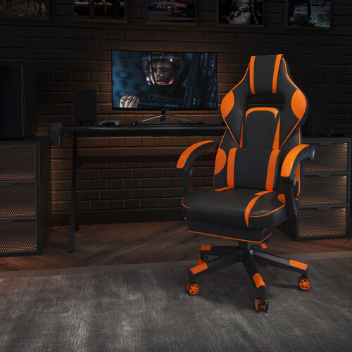 X40 Gaming Chair Racing Ergonomic Computer Chair with Fully Reclining Back/Arms, Slide-Out Footrest, Massaging Lumbar - Black/Orange