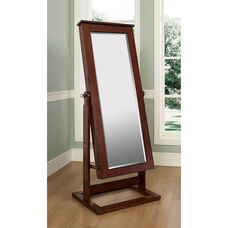 Cheval Jewelry Wardrobe - Walnut with Black Lining