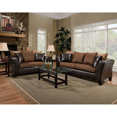 Riverstone Sierra Chocolate Microfiber Living Room Set