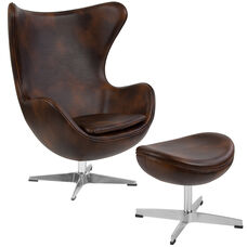 Bomber Jacket Leather Egg Chair with Tilt-Lock Mechanism and Ottoman
