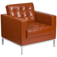 HERCULES Lacey Series Contemporary Cognac LeatherSoft Chair with Stainless Steel Frame