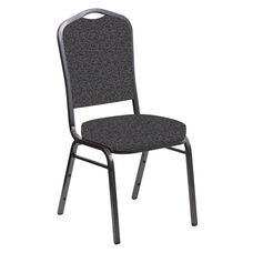 Embroidered Crown Back Banquet Chair in Ribbons Gray Fabric - Silver Vein Frame