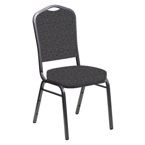 Our Embroidered Crown Back Banquet Chair in Ribbons Gray Fabric - Silver Vein Frame is on sale now.
