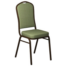 Embroidered Crown Back Banquet Chair in Bedford Alfalfa Fabric - Gold Vein Frame