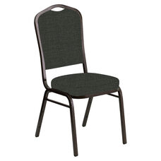 Crown Back Banquet Chair in Interweave Coal Fabric - Gold Vein Frame