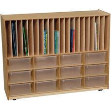 Tip-Me-Not Portfolio Storage Center with Twelve Clear Storage Trays - Assembled - 48