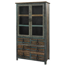 Calypso Six Drawer and Two Door High Cabinet - Blue and Brown