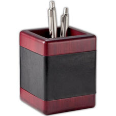 Wood and Leather Square Pencil Cup - Rosewood and Black