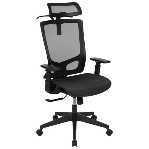Our Ergonomic Mesh Office Chair with Synchro-Tilt, Pivot Adjustable Headrest, Lumbar Support, Coat Hanger and Adjustable Arms in Black is on sale now.