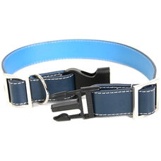 Collar for Small to Medium Dogs - Genuine Leather - Dark Blue and Ocean Blue