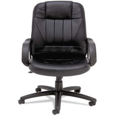 Alera® Sparis Series Executive High-Back Swivel/Tilt Chair - Leather - Black