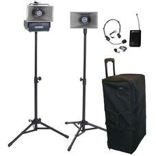 Wireless Half-Mile 50 Watt Hailer Kit with Headset and Lapel Microphone - 30