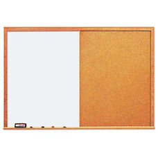 Deluxe Wood Frame Combination Markerboard and Tackboard - 96