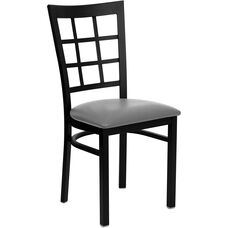 Black Window Back Metal Restaurant Chair with Custom Upholstered Seat