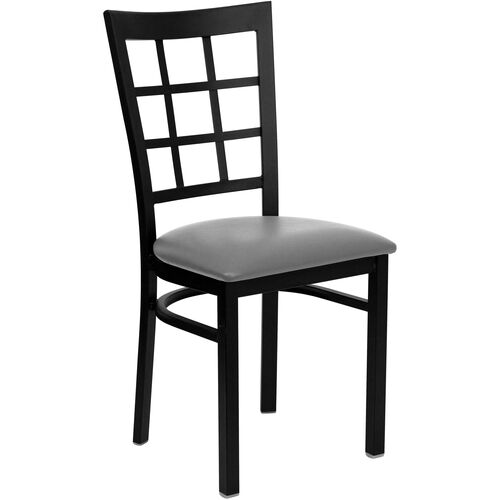 Our Black Window Back Metal Restaurant Chair with Custom Upholstered Seat is on sale now.