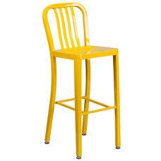 "Commercial Grade 30"" High Yellow Metal Indoor-Outdoor Barstool with Vertical Slat Back"
