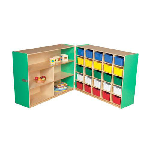 Half & Half Green Storage Shelf Unit with Rolling Casters and Twenty Five Multi-Colored Cubby Trays - 96