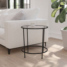 Astoria Collection Round End Table - Modern Clear Glass Accent Table with Matte Black Frame
