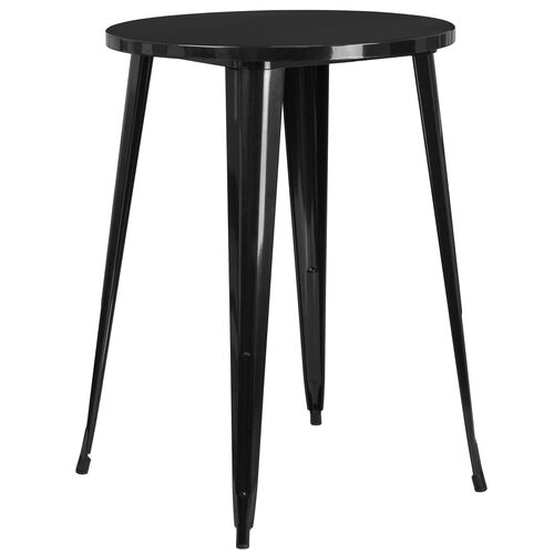 """Our Commercial Grade 30"""" Round Black Metal Indoor-Outdoor Bar Height Table is on sale now."""
