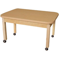 Mobile Rectangular High Pressure Laminate Table with Hardwood Legs - 48