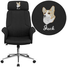 Embroidered High Back Black Fabric Executive Swivel Chair with Chrome Base and Fully Upholstered Arms