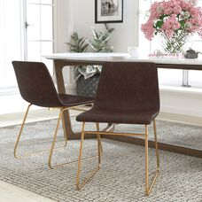 18 inch LeatherSoft Dining Chair in Dark Brown, Set of 2