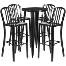 """Commercial Grade 24"""" Round Black Metal Indoor-Outdoor Bar Table Set with 4 Vertical Slat Back Stools"""