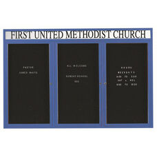 3 Door Outdoor Illuminated Enclosed Directory Board with Header and Blue Anodized Aluminum Frame - 48